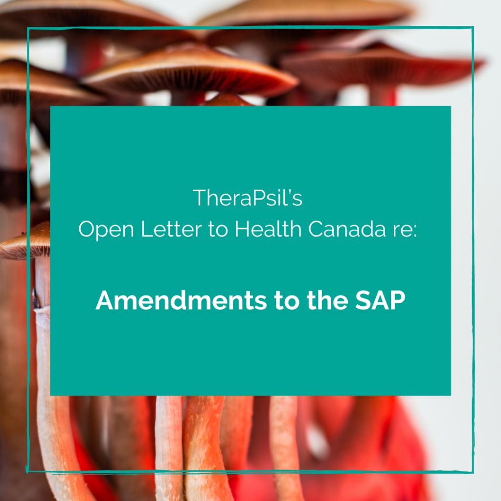 TheraPsil's Open Letter to Health Canada re: Amendments to the SAP